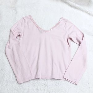 GAP pink sequin double v neck angora sweater